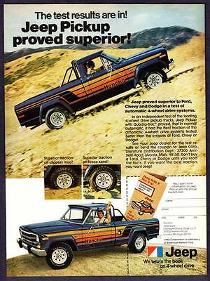 """1979 Jeep Honcho Pickup Truck photo """"Results Proved Superior"""" vintage print ad"""