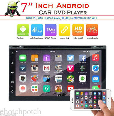 """Android 7.1 7"""" Double Din 4G Wifi Car GPS Nav DVD Player BT Indash Radio+CAMERA"""
