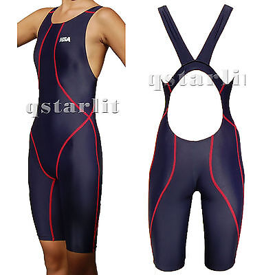 Girls Junior Women Racing Competition Kneesuit Kneeskin Swimwear Sz 22-40 Navy