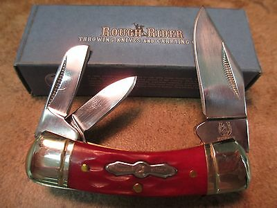 "Rough Rider Small Canoe Red Jigged Bone 2 1/4"" Closed Folding Knife RR311 zix"