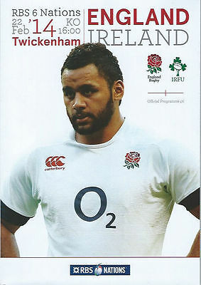 ENGLAND v IRELAND 2014 RUGBY PROGRAMME, 22 Feb, Twickenham, Six Nations