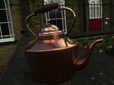 VINTAGE STURDY USABLE COPPER HOB KETTLE WITH TIN LINING AND BRASS FITTINGS ,