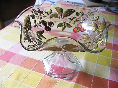 """Antique Pedestal Goofus Glass Compote 7"""" Tall By 10 1/2"""" Red Cherries Gilt Gold"""