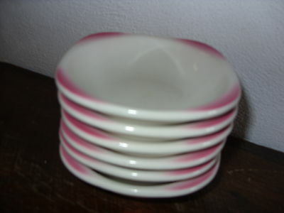 6 Syracuse China Restaurant Ware Trend Air Brush Pink Dessert Fruit Bowls-SY401