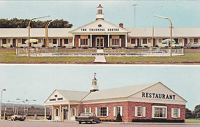New York Colonial Squire Motel Restaurant 1960s Vintage Postcard NY Thruway Road