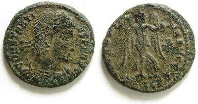 Zurqieh -Nb166- Extremly Rare Ae 4 Of Constantius Ii With Nike Holding Wreath To