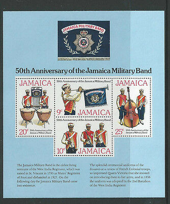 Jamaica 1977 Military Band Miniature Sheet Sgms442 Unmounted Mint