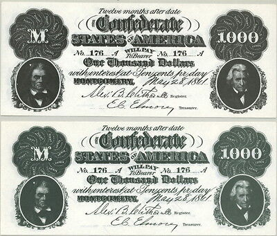 Confederate States $1000 Series 1864 Hollywood Movie Prop Money Stage Bill!