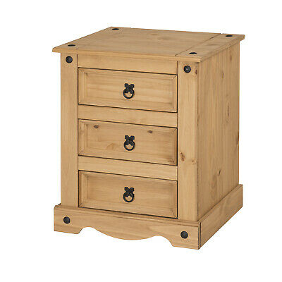 Corona Chunky 3 Drawer Bedside Chest Table Cabinet Mexican Pine Mercers Furnitur