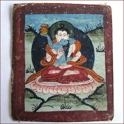 Antique Tsakli Small Thanka Painting Tibet Samantabhadra Consort With Invocation