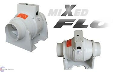 "XFLO100S Inline Mixed Flow Fan 4"" 100mm Bathroom Extractor Fan Standard On/Off"