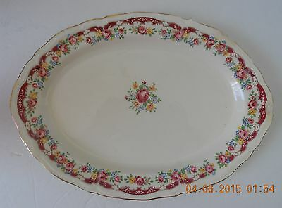 Vintage Edwin M. Knowles China Plate/Platter - Pink/Yellow/Blue Floral