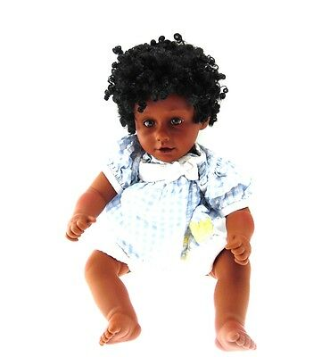 PAT SECRIST Tara Brown Eyes Black Hair Collectible Baby Doll In Ducky Dress