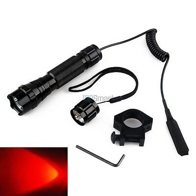 CREE RED LED Tactical Flashlight  Pressure Switch with Picatinny Rail Mount AR
