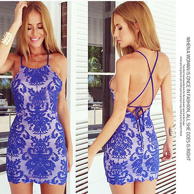 2015 Sexy Woman Blue Halter Backless Lace Club Party Cocktail Beach Mini Dress