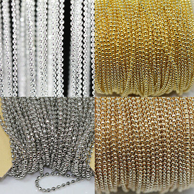 5M Silver/Golden Tone Metal Ball Round Chain For Necklace Jewelry Makings 1MM