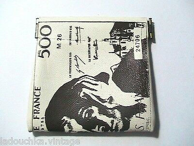 FRENCH SOUVENIR 1960s SQUEEZE COIN WALLET - 500 FRANCS BANKNOTE - MADE IN FRANCE