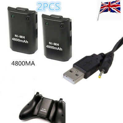 2X 4800mAh Rechargeable BatteryPack + 1.8M Charge Cable for Xbox 360 Controller
