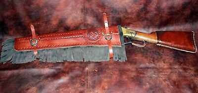 Custom Handmade Manta Leather Mounted Shooting rifle & shotgun scabbards   USA