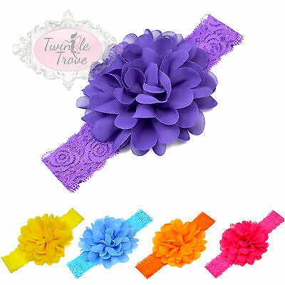 Baby Toddler's Large Flower Headbands Hairbands. Lace Band. Soft Fabric Hair