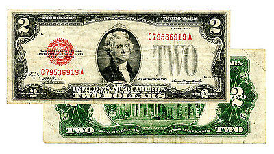 1928 $2 Very Fine - F/vf Red Seal Federal Reserve Note Quality Currency Bill