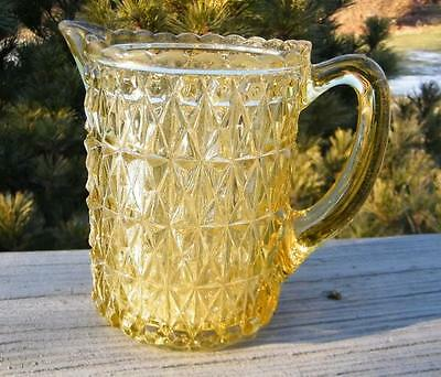 VINTAGE ANTIQUE EAPG GLASS YELLOW 1880 CREAM PITCHER