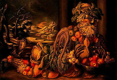 Oil panting Giuseppe Arcimboldo - The Winter old man & vegetable  bird at dusk