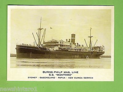 #a. 2015  Reproduction Shipping  Postcard -  S.s. Montoro, Burns Philp Mail Line
