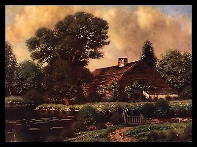 """VINTAGE 1940'S """"A DAY IN JUNE"""" SUMMER HOME BY THE POND CALENDAR ART PRINT"""