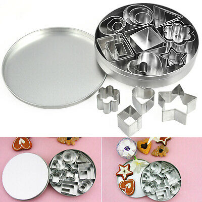 TRIXES 24Pc Steel Shape Cutter Moulds for Baking and Cake Decorating 8 Designs