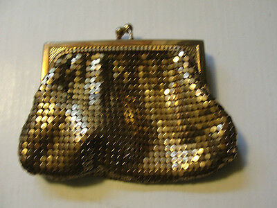 WHITTINGS & DAVIS MESH GOLD TONE ANTIQUE COIN BAG OR PURSE,VERY OLD,NICE