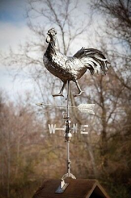 Rooster Weathervane Stainless Steel Farmhouse Barn Rustic Outdoor Decor