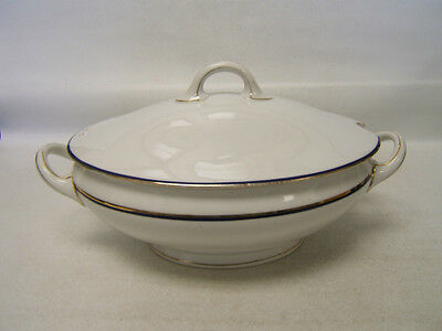 Schonwald SCD81 Tureen w/ Cover White with Cobalt Blue Band Gold Rim