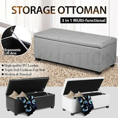 Blanket Box Ottoman Linen & PU Leather Toy Large Storage Foot Stool Chest