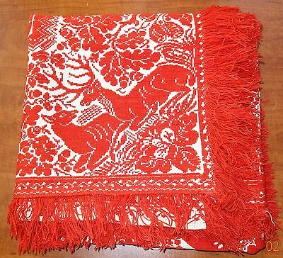 Antique 1860 American Woven Jacquard Bed Coverlet Red & White Figural Reversal