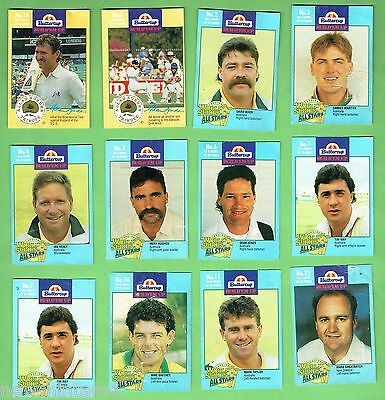 #d168. Twelve Buttercup  Bread Cricket Cards, Mostly Blue
