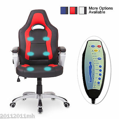 Homcom Race Car Styled Massage Office/Study Chair w/ Heating Funcation 3 Colour
