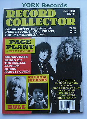 RECORD COLLECTOR MAGAZINE - Issue 191 July 1995 - Page-Plant / Jacksons / Hole