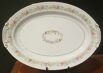 Sone China Large Serving Platter from Occupied Japan Pink, Blue, Yellow Flowers