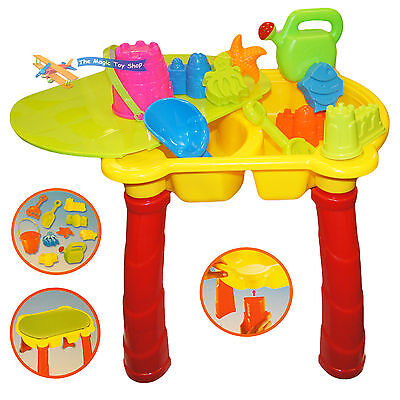 Large Sand and Water Table Garden Sandpit Play Set Toy Watering Can Spade Bucket