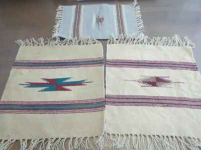 CHIMAYO VINTAGE HAND WOVEN RUGS MEXICAN RUGS LOT OF 3 PIECES VINTAGE