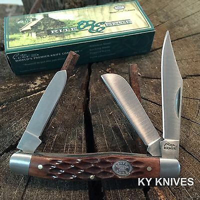 RITE EDGE 3 Blade Grand Dad's Stockman Pocket Knife Jigged Bone Handle 210574-BX