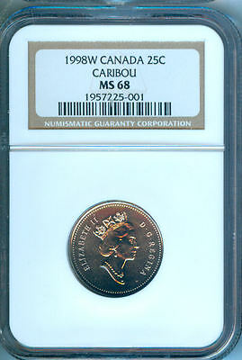 1998W Canada Caribou 25 Cents Ngc Ms-68