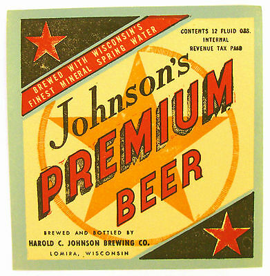 IRTP Harold C. Johnson Brewing JOHNSON'S PREMIUM BEER label WI 12oz