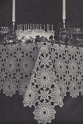 Vintage Crochet PATTERN to make Tablecloth Round Wheel Star Motif SeptemberTable