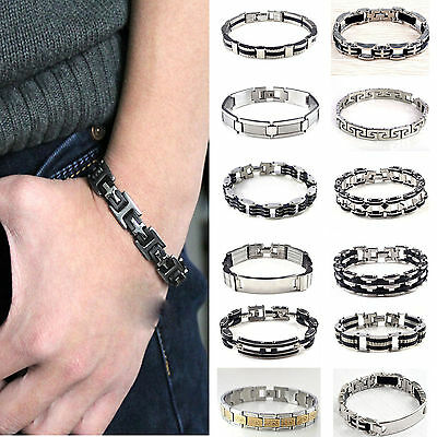 Men's High Quality Stainless Steel Bracelet Silver ID Link Black Rubber Bangle !