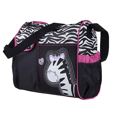 TRIXES Baby Nappy Changing Zebra Bag Black with Pink Trim Includes Mat and Clear
