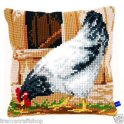Grey Chicken Chunky Cross Stitch Cushion Front kit 40x40cm By Vervaco