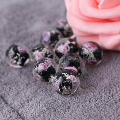 10x 12mm Black Faceted Lampwork Flower Glass Loose Beads For Necklace Making DIY
