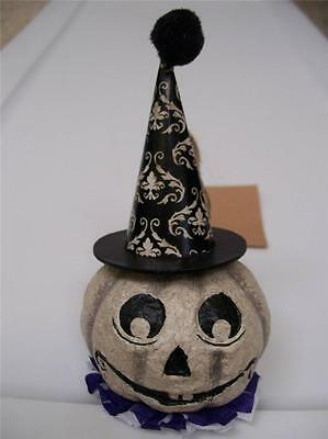 """NWT 5.25"""" Black & White GHOST PUMPKIN HEAD in Witch Hat Halloween Ornament"""